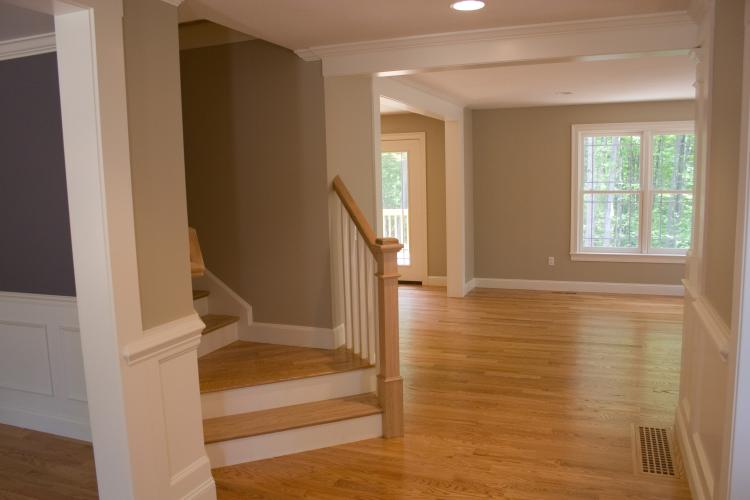 Open concept 4 bedroom with angled staircase